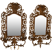 "Big 17"" Heavy Antique 1800's Bacchus Beveled Mirror Candle Wall Sconce Pair !!"