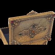 Vintage Jeweled Silvercraft Gold Ormolu Dresser Box, trinket, casket