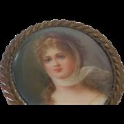 Antique Victorian Hatpin Miniature Painted Portrait on Porcelain Lrg Top Gold Ormolu Bezel Set