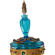 Rare Vintage 1920's Jeweled Boxtle  Blue Perfume Bottle combo Powder Jar