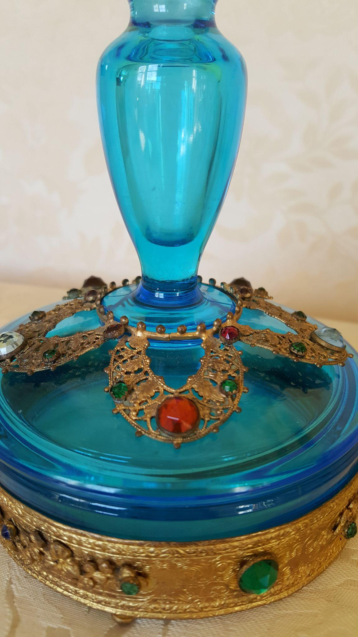 Rare Vintage 1920 S Jeweled Boxtle Blue Perfume Bottle