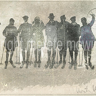 """Friends on Skis"" , Digital Fine Art 19th Century skiers"