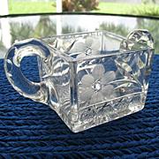 Early 1900s Sugar Bowl Wheel Cut Daisy Applied Handles