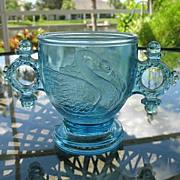 Blue 1880 Atterbury Swan Sugar Bowl with Ring Handles
