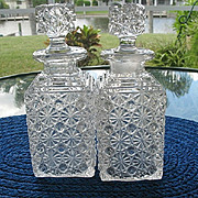 Pair Daisy Button Square Decanters Bryce Antique