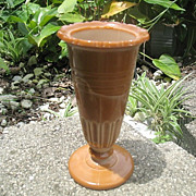 Chocolate Glass Vase Scalloped Flange 6 Inches