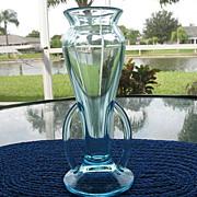Bud Vase Light Blue Double Handles Applied Vintage