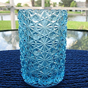 Blue Daisy Button Celery Vase 5 In. Tall