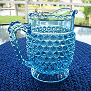 Creamer Blue Hobnail With Thumbprint Band  Pristine
