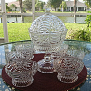 Antique Covered Compote and 6 Bowls Bryce 1870s