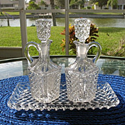 Crystal Oil Vinegar Set with Tray Diamond Pattern