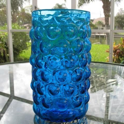Tall 925 In Cobalt Blue Bubble Vase Oval Blown Glass Past Wares