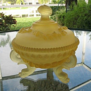 Argonaut Shell Yellow Covered Satin Glass  Dish