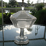 Pleat and Panel Octagonal Covered Compote  #2  Bryce