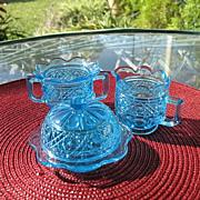 Gala Pattern Light Blue Toy Table Set Mosser 1970