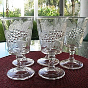Currant Strawberry 6 Goblets  Pressed Glass 1890s