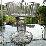 Antique 1882 Clear Ribbon Open Compote Scalloped Base