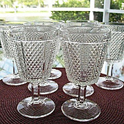 Fostoria Paneled Diamond Point 8 Lead Crystal Goblets