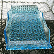 Daisy Button Blue Rectangle Bread Tray Platter