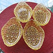 Daisy Button 4 Honey Amber Oval Sauce Bowls