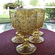 Daisy Button Thumbprint 6 Amber Goblets