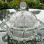 Thistle  Pattern Covered Candy Dish L.G. Wright