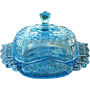 Bryce Brothers Blue EAPG Fashion Butter Dish 1881 EAPG