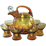 Cambridge Amber 7 pc Cordial Decanter Set
