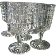 Small EAPG Wine Goblets Set 7 Waffle with Points