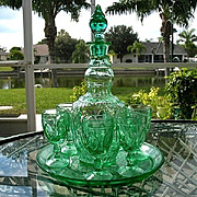 Oval and Fans Green Decanter Set with Tray
