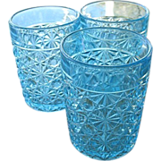 EAPG 3 Blue Daisy Button Tumblers Clear Band Top