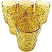 EAPG 6 Pale .Amber Daisy Button Tumblers Clear Band Top