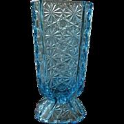 Daisy Button Thumbprint Panel Blue Candy Jar