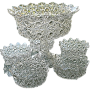 Daisy Button 8.5 in Compote 5 Berry Bowls Adams & Co. 1888