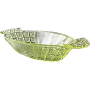 EAPG Canary Vaseline Paneled Daisy in Square 9 in. Handled Bowl