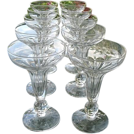 Hollow stem 10 blown crystal champagne flutes knob stem sold on ruby lane - Hollow stem champagne glasses ...