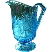 Blue Water Pitcher Hummingbird and Fern 1880s-1890s