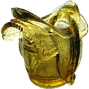Old Gold Saddle on Barrel Novelty Toothpick Holder