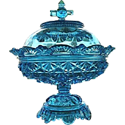 Blue Belmont 100 Daisy Button 1886 Covered 10 in. Compote