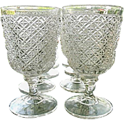 Antique Bryce Brothers Fine Cut 8 Water Goblets 1869