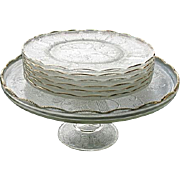 Dessert Set Cake Stand Plus 6 Plates Jeannette Harp or Lyre