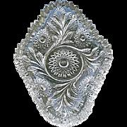 Hobstar & Feather Olive Pickle Dish Millersburg Glass 1909