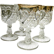 Heart with Thumbprint 4 Small Wine Goblets Tarentum Glass