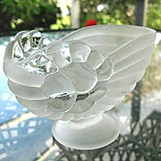 Frosted and Clear Nautilus Open Candy or Trinket Decor