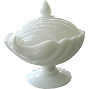 Milk Glass Clam Shell Pedestal Covered Candy Trinket Dish