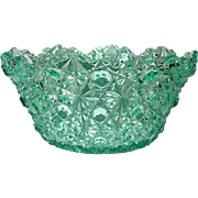 EAPG Scarce Marine Green 8 in. Daisy Button Bowl