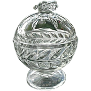 Pressed Glass Domed Footed Candy Honey Dish Bee Final