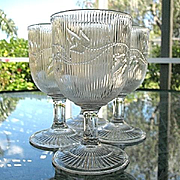 Set 6 Ribbed Ivy Flint Water Goblets 1850s