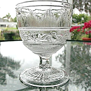 Hamilton Leaf Flint Open Sugar Buttermilk Goblet 1860s