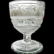 Hamilton Leaf Flint Open Sugar Buttermilk Goblet 1860s